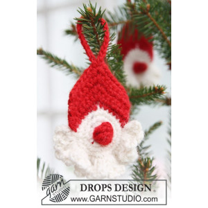 Red Nose Santa by DROPS Design - Crochet Christmas Santa Pattern 8 cm