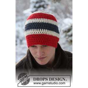 Jonathan by DROPS Design - Crochet Hat with Stripes Pattern size 3/5 years - Voksen