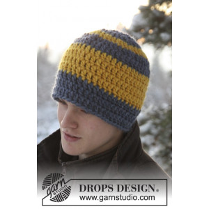 Kalle by DROPS Design - Crochet Hat with Stripes Pattern size 3 years - Adult