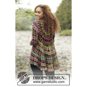 Fall Festival by DROPS Design - Crochet Jacket worked in a circle Pattern size S - XXXL
