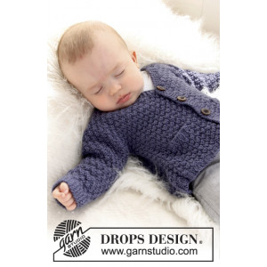 Checco's Dream by DROPS Design - Knitted Baby Jacket with Textured Pattern size 1/3 months - 3/4 years
