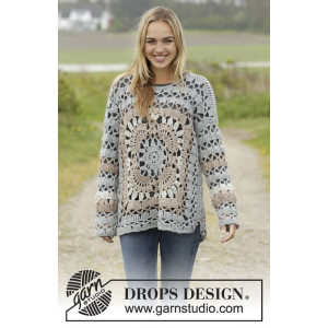 Harvest Love by DROPS Design - Crochet Jumper with Squares and Lace Pattern size S - XXXL