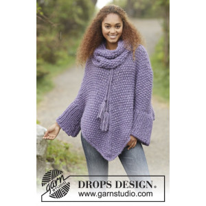 Lavender Grove by DROPS Design - Knitted Poncho in Moss Stitch Pattern str S/M - XXXL