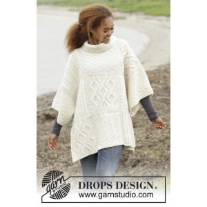 Comfort Chronicles by DROPS Design - Knitted Poncho with Sleeves, vents, squares in cables Pattern One-size