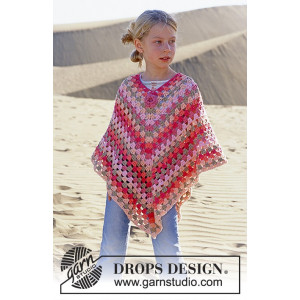 Little Sophie by DROPS Design - Crochet Poncho Pattern size 5/7 - 12/14 years