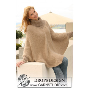 Hometown by DROPS Design - Knitted Poncho with high collar Pattern S/M-XXL/XXXL