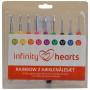 Infinity Hearts Rainbow 2 Crochet Hooks Set 13.5cm 2-6mm 9 sizes