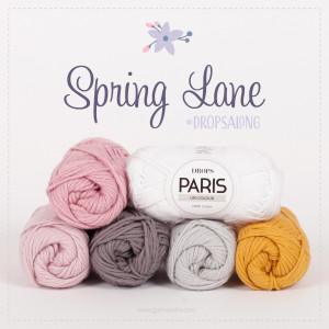 Spring Lane by DROPS Design - Mystery CAL Crochet Kit blanket White/Grey/Pink/Mustard - 90x115 cm