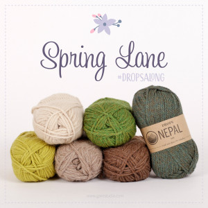 Spring Lane by DROPS Design - Mystery CAL Crochet Kit blanket Green/Beige/Brown - 90x115 cm