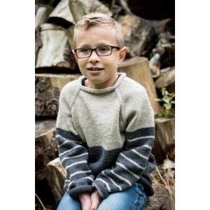Mayflower Two-coloured Sweater - Knitted Jumper Pattern size 4 years - 12 years