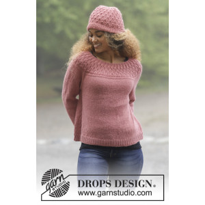 Namdalen by DROPS Design - Knitted Jumper and Hat with Texture Pattern size S - XXXL