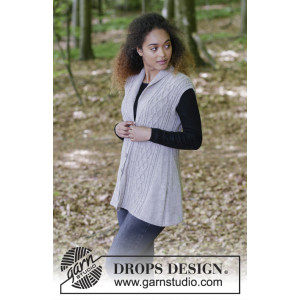 Morgan's Daughter Vest by DROPS Design - Knitted Vest with Cables Pattern size S - XXXL