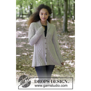 Morgan's Daughter Jacket by DROPS Design - Knitted Jacket with Cables Pattern size S - XXXL