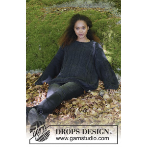 Douce Nuit by DROPS Design - Knitted Jumper with Cables and Moss Stitch Pattern size S - XXXL