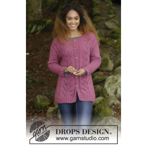 Lotus Jacket by DROPS Design - Knitted Jacket with Cables and Moss Stitch Pattern size S - XXXL