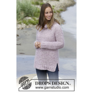 Foggy Morning by DROPS Design - Knitted Jumper in Garter Stitch and Rib Pattern size S - XXXL