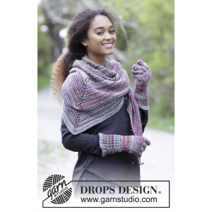 Autumn Joy by DROPS Design - Knitted Shawl and Gloves with Garter Stitch Pattern 164x70cm