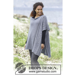 Cloudy Day by DROPS Design - Knitted Poncho size S/M-XXXL