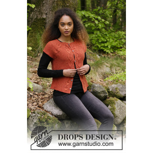 Autumn Vines Top by DROPS Design - Knitted Jacket with Leaf Pattern size S - XXXL