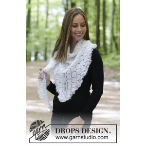 Chill and Frills by DROPS Design - Knitted Shawl with Lace, garter stitch and Flounce Pattern 188x56 cm