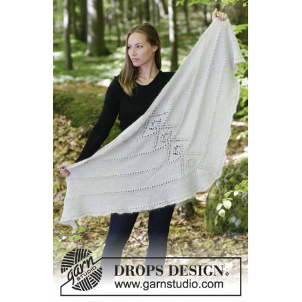 0428019ea6f9 Viking Spirit by DROPS Design - Knitted Shawl with Lace Pattern 180x70 cm