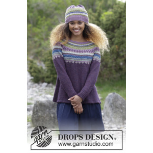Blueberry Fizz by DROPS Design - Knitted Jumper and Hat in multi-coloured Norwegian Pattern size S - XXXL