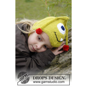 Eye Smile by DROPS Design - Knitted Monster Hat with Antennas, eyes and Mouth Pattern size 1/3 months - 3/4 years