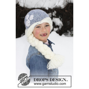 Princess Snowflake by DROPS Design - Crochet Hat with Braid Pattern size 1/2 years - 7/8 years