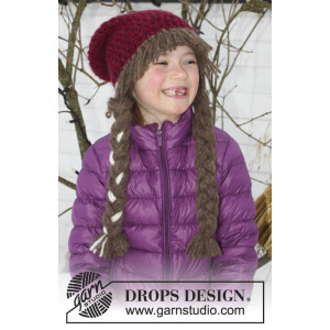 Anna Smiles by DROPS Design - Crochet Hat with Braids Pattern size 3/5 years - 10/14 years