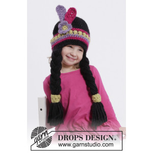 Little Alawa by DROPS Design - Crochet Indian Hat with Braids and Feathers Pattern Size 1/2 years - 9/10 years