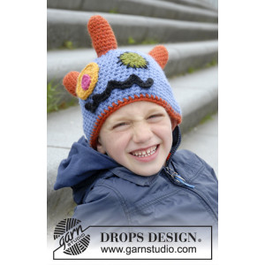 Crazy Eyes by DROPS Design - Crochet Monster Hat with Horns, eyes and Mouth Pattern size 3/5 - 10/12 years