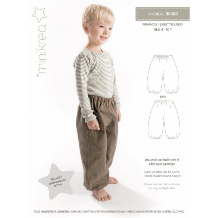 6fd1a56292577 MiniKrea Sewing Pattern 30300 Baggy Trousers - Paper Pattern size 4-10 years