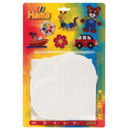 2 pcs. Hama Midi Pegboard 4453 Square /& Round White