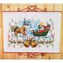 Permin Embroidery Kit Aida Advent Calendar Santa Claus at Church 55x42cm
