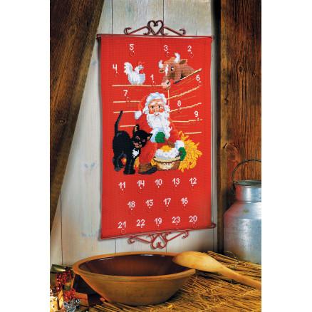 Aida Weihnachtskalender.Permin Embroidery Kit Aida Advent Calendar Santa Claus In Stable 38x60cm