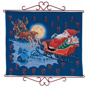 Aida Weihnachtskalender.Permin Embroidery Kit Aida Bell String Birth Poster Sandra 12x35cm