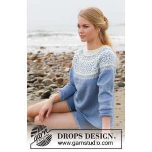 Periwinkle by DROPS Design - Sweater Knitting Pattern size S - XXXL