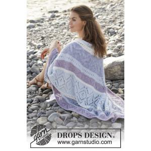 Lilac shawl by DROPS Design - Shawl Knitting Pattern 104x208 cm