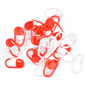 Infinity Hearts Stitch Markers Red / White 22mm - 30 pcs