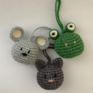 Reflective Keychains by Rito Krea - Teddy Crochet pattern 6cm - 3 pcs
