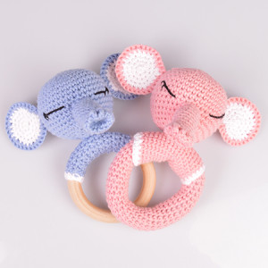 Elephant Rattles of Rito Krea - Rattle Crochet Pattern 14cm - 2 pcs