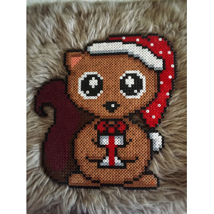 Erling Squirrel Christmas pattern by Rito Krea - Bead pattern Christmas 27x27cm