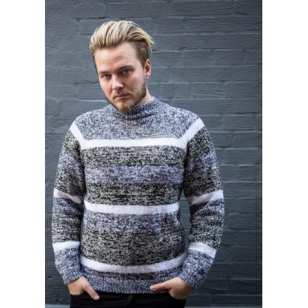 ae527f867 Mayflower Men s Sweater with Grey Stripes - Sweater Pattern Size S - XXXL