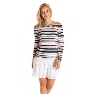 Mayflower Striped Blouse with Big Neckline - Jumper Pattern Size S - XXL