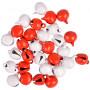 Infinity Hearts Jingle Bells Metal Red/White 10mm - 30 pcs