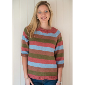 Mayflower Striped Blouse with 3/4 Sleeves - Blouse Knitting Pattern Size S - XXXL