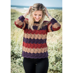 Mayflower Sweater with Stripes and lace - Sweater Knitting Pattern Size S - XXXL