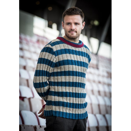 8f41407f3 Mayflower Men Sweater in Rib and Stripes - Sweater Knitting Pattern Size S  - XXXL