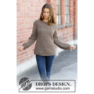 Flor de Canela by DROPS Design - Knitted Jumper Pattern Sizes S - XXXL