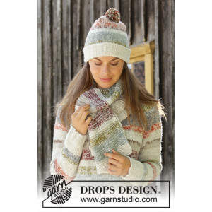 Fading Sunset by DROPS Design - Knitted Hat and Scarf Pattern Sizes S - L